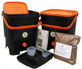 Bokashi Starter Set Schwarz/Orange (2 Eimer)